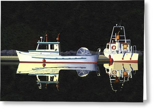 Greeting Card featuring the painting Last Light  Island Moorage by Gary Giacomelli