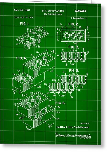 Lego Patent 1958 - Green Greeting Card