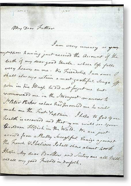 Letter Of Lord Nelson Greeting Card