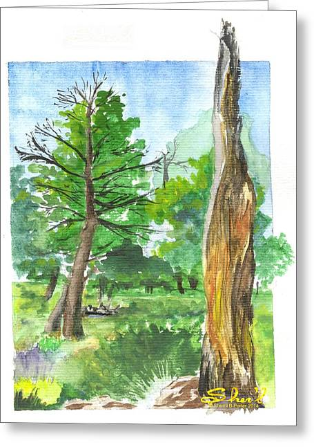 Greeting Card featuring the painting Lightening Strike Tree by Sherril Porter