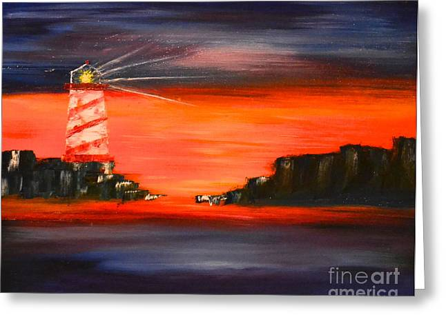 Greeting Card featuring the painting Lighthouse Bay by Denise Tomasura