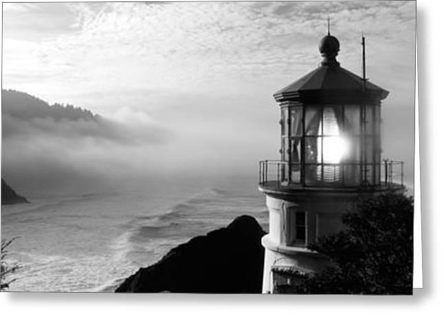 Lighthouse On A Hill, Heceta Head Greeting Card by Panoramic Images