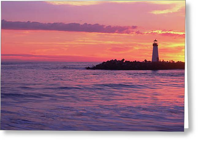 Lighthouse On The Coast At Dusk, Walton Greeting Card by Panoramic Images