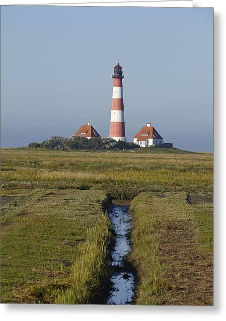 Lighthouse Westerhever Greeting Card by Olaf Schulz