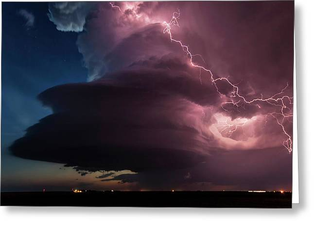 Lighting And Supercell Storm Greeting Card by Roger Hill
