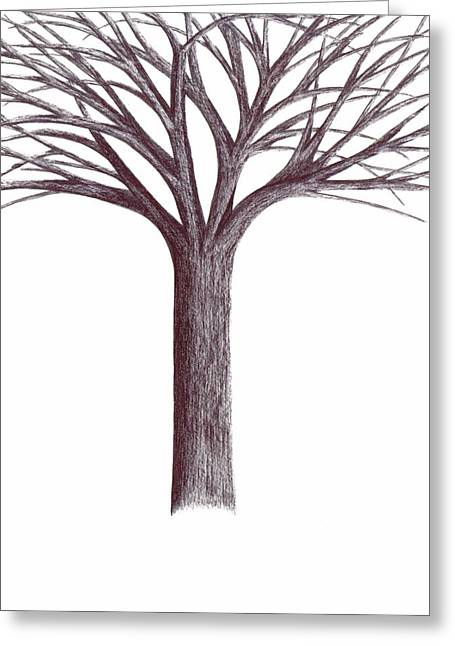 Greeting Card featuring the drawing Second-generation....tree Without Roots by Giuseppe Epifani