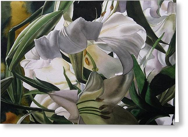 Lily In White Greeting Card by Alfred Ng