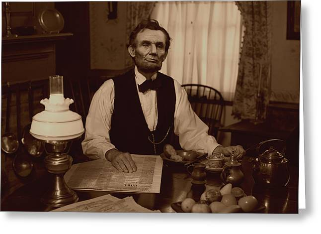Lincoln At Breakfast Greeting Card by Ray Downing