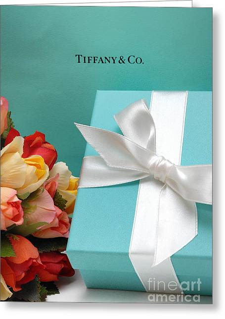Little Blue Gift Box Greeting Card by Amy Cicconi