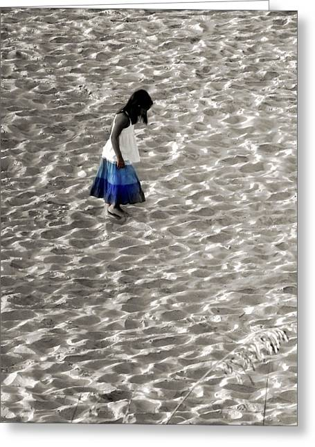 Little Girl Blue Greeting Card by Karen Wiles