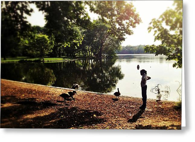 Little Girl By The Lake Greeting Card by Natasha Marco