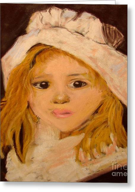 Little Girl Greeting Card by Joseph Hawkins