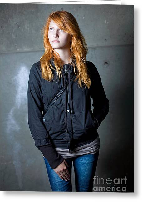 Loneliness - Moody Portrait Of A Beautiful Young Redhead Girl. Greeting Card