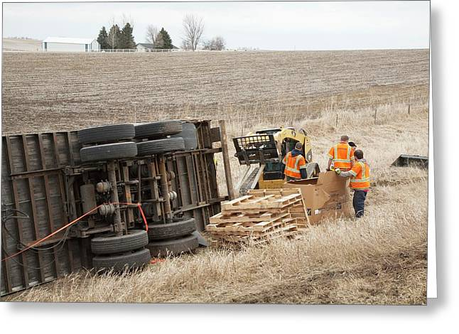 Lorry Accident Cleanup Greeting Card by Jim West