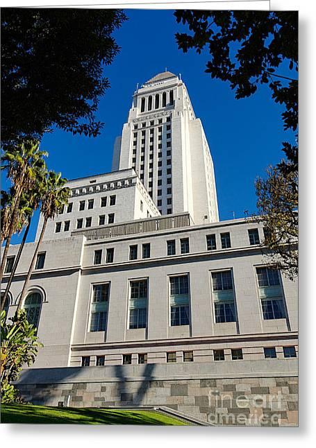 Los Angeles City Hall Greeting Card by Jamie Pham