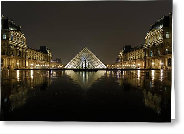 Louvre Pyramid And Pavillon Richelieu Greeting Card by Rostislav Bychkov