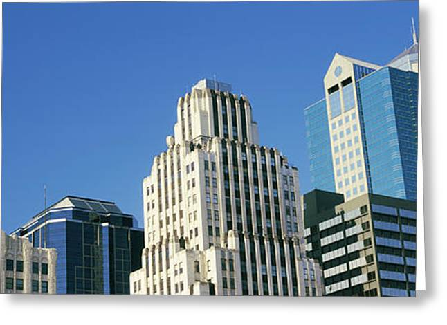 Low Angle View Of Downtown Skyline Greeting Card by Panoramic Images