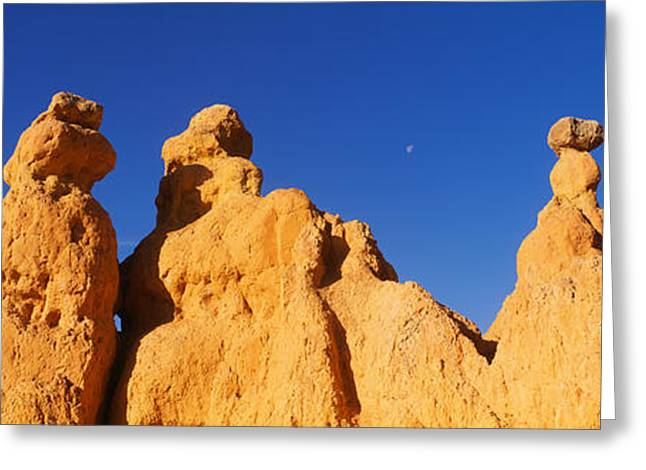 Low Angle View Of Rock Formations Greeting Card