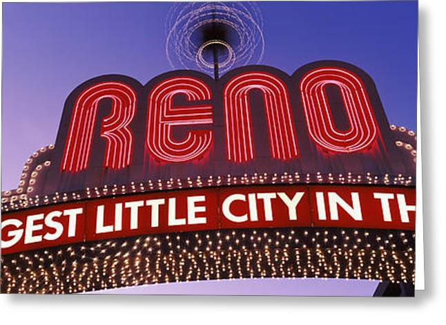 Low Angle View Of The Reno Arch Greeting Card