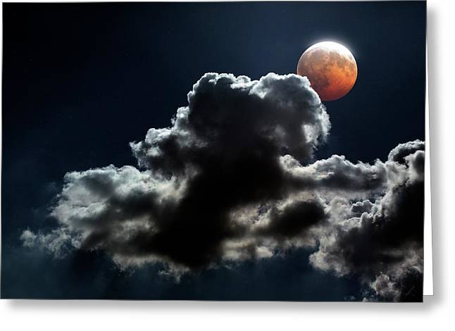 Lunar Eclipse Greeting Card by Detlev Van Ravenswaay