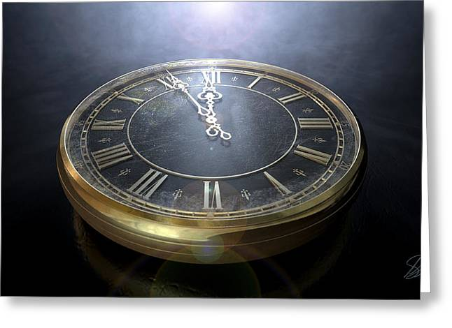 Macro Antique Watch Midnight Greeting Card by Allan Swart