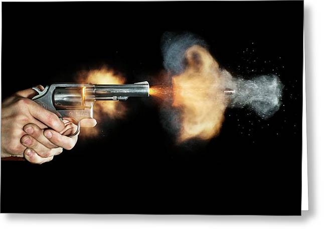 Magnum Revolver Shot Greeting Card by Herra Kuulapaa � Precires