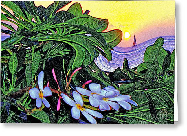 2 Mai Tais Waikiki Hawaii Greeting Card by Jerome Stumphauzer