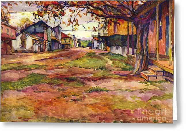 Main Street Of Early Spanish California Days San Juan Bautista Rowena M Abdy Early California Artist Greeting Card