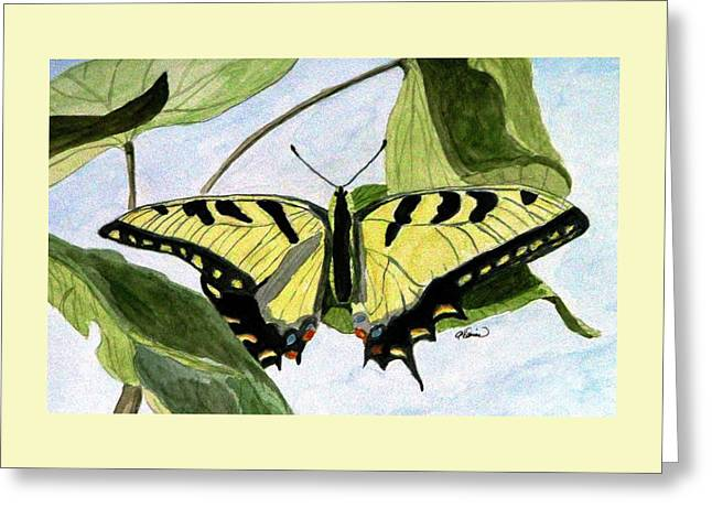Greeting Card featuring the painting Male Eastern Tiger Swallowtail by Angela Davies