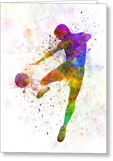 Man Soccer Football Player Flying Kicking Greeting Card by Pablo Romero