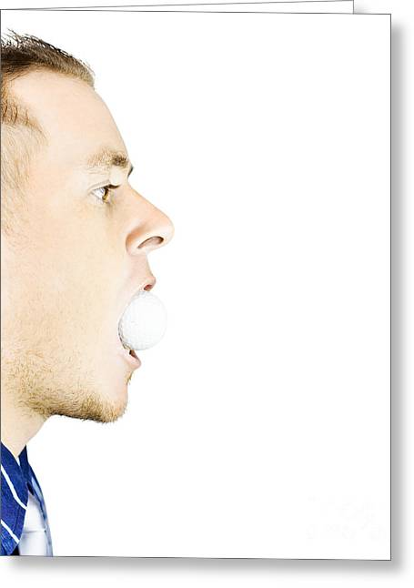Man With Golf Ball In Mouth Greeting Card by Jorgo Photography - Wall Art Gallery