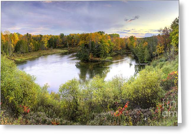 Manistee River In Fall Greeting Card by Twenty Two North Photography