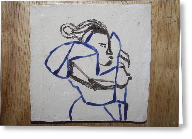 Maria - Tile Greeting Card by Gloria Ssali