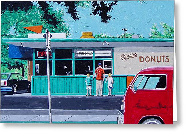 Maries Donuts Greeting Card by Paul Guyer