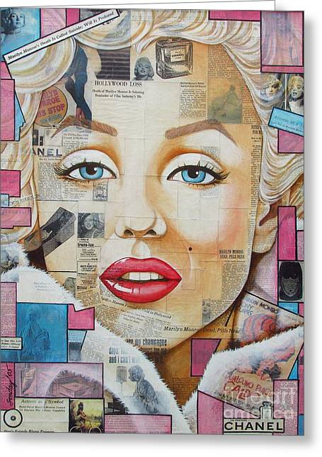 Marilyn In Pink And Blue Greeting Card by Joseph Sonday