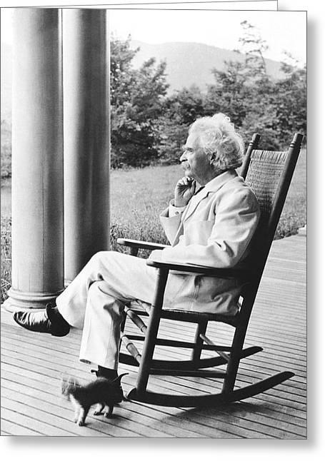 Mark Twain On A Porch Greeting Card