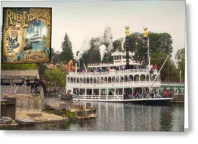 Mark Twain Riverboat Signage Frontierland Disneyland Greeting Card by Thomas Woolworth