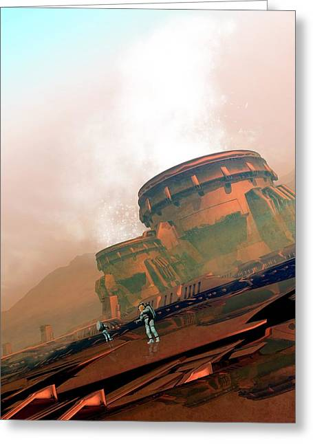 Martian Colony Greeting Card by Victor Habbick Visions