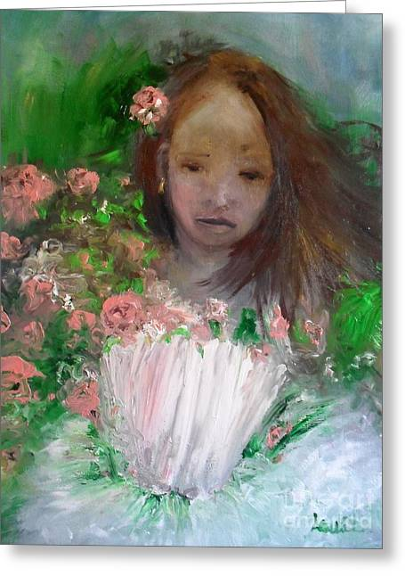 Greeting Card featuring the painting Mary Rosa by Laurie Lundquist