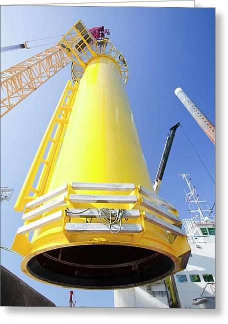 Massive Crane Lifting A Transition Piece Greeting Card