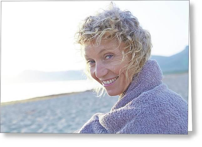 Mature Woman On Beach Greeting Card
