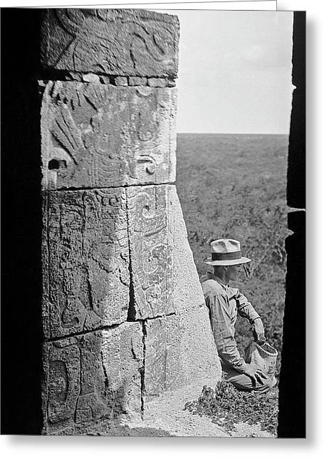 Mayan Temple Carvings Greeting Card by American Philosophical Society