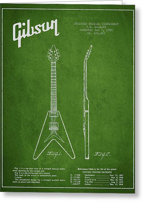Mccarty Gibson Electric Guitar Patent Drawing From 1958 - Green Greeting Card