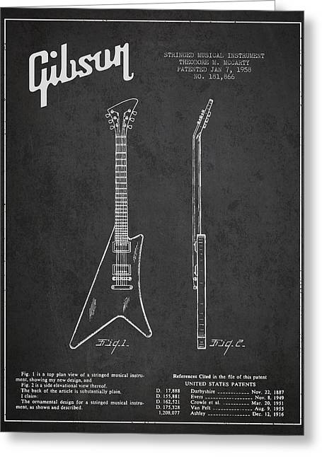 Mccarty Gibson Stringed Instrument Patent Drawing From 1958 - Dark Greeting Card