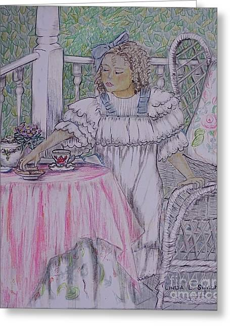 Mckenna's Tea Party Greeting Card by Linda Simon