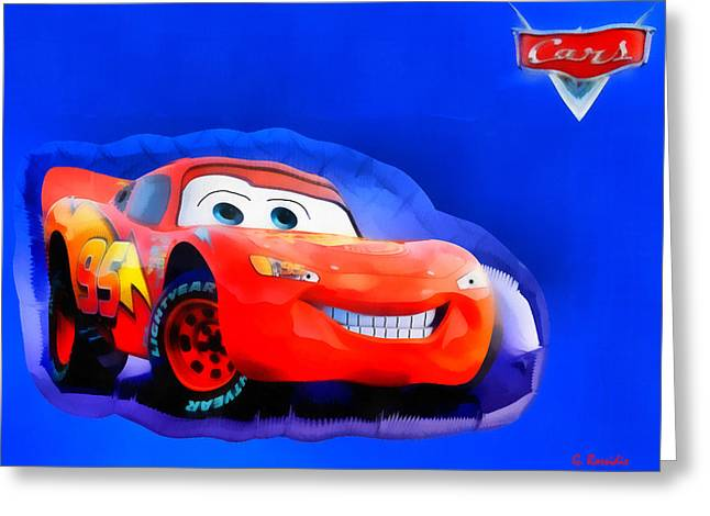 Mcqueen Cars Greeting Card by George Rossidis