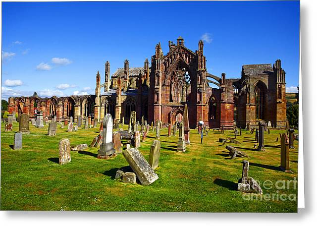 Greeting Card featuring the photograph Melrose Abbey Scotland by Craig B