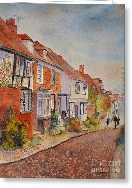 Greeting Card featuring the painting Mermaid Street Rye by Beatrice Cloake