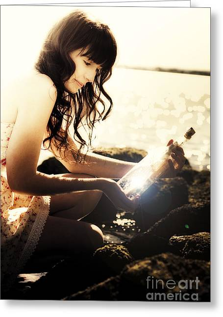 Message In A Bottle Greeting Card by Jorgo Photography - Wall Art Gallery