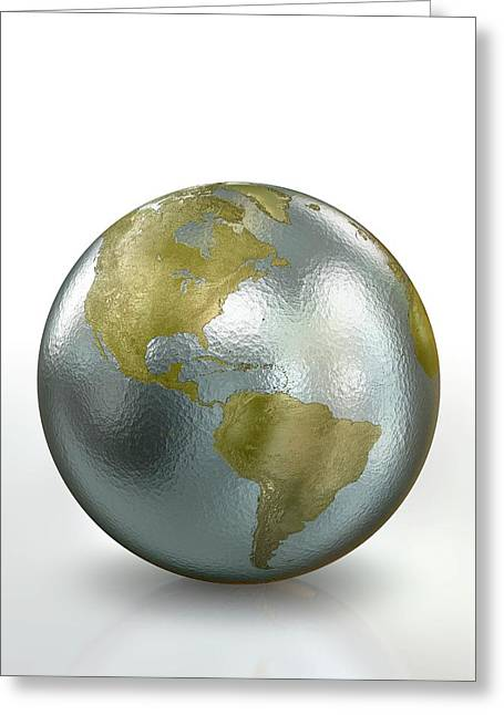 Metallic Earth Greeting Card by Animated Healthcare Ltd/science Photo Library